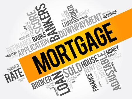 De wolkencollage van het hypotheekwoord, bedrijfsconceptenachtergrond