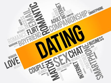 charming: Dating word cloud collage, love concept background