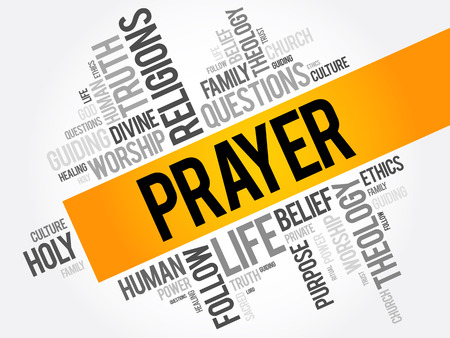 Prayer word cloud collage, religion concept background