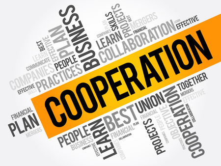 intentional: Cooperation word cloud collage, business concept background