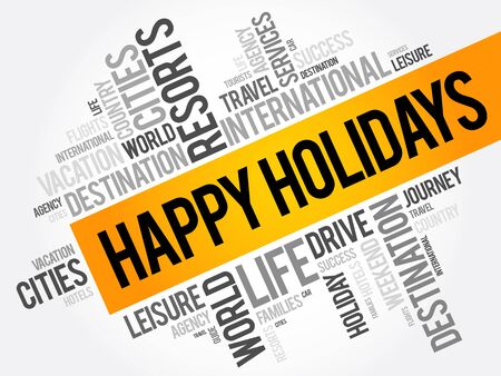 Happy holidays word cloud collage, travel concept background