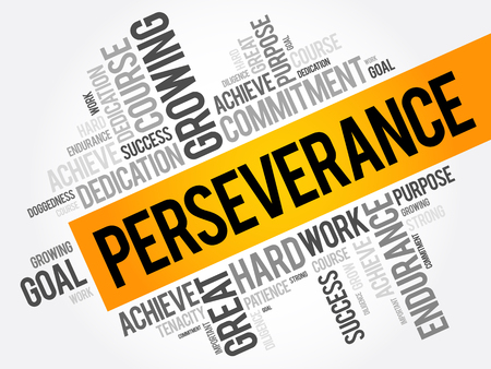 constancy: Perseverance word cloud collage, business concept background