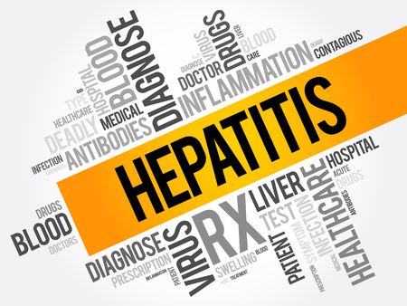 Hepatitis word cloud collage, health concept background Illustration