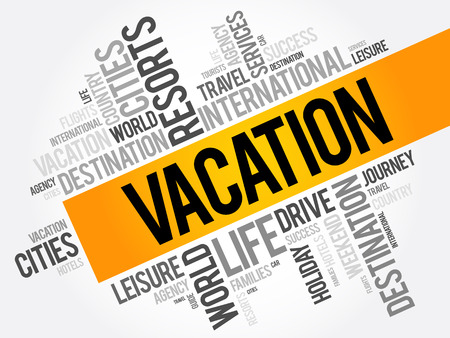 Vacation word cloud collage, travel concept background