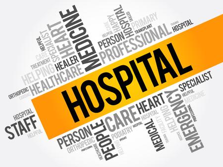 Collage de nube de word de hospital, fondo del concepto de salud