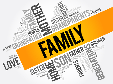 가족 단어 구름 콜라주, 사회 개념 배경