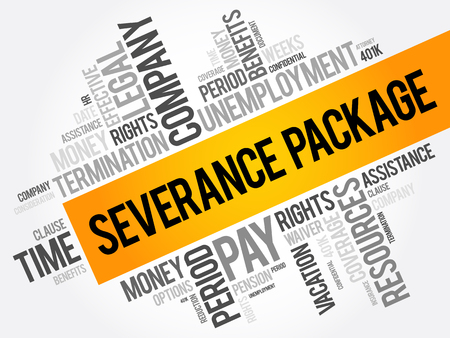 Severance package word cloud collage , social concept background