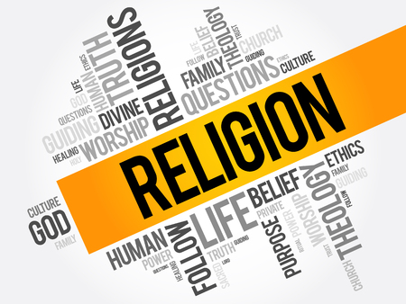 Religion word cloud collage, social concept background Illustration