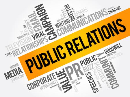Collage de nuage de mot relations publiques, fond de concept d'affaires