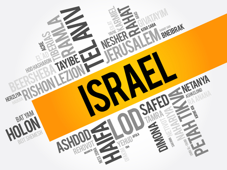 List of cities and towns in Israel, word cloud collage, business and travel concept background