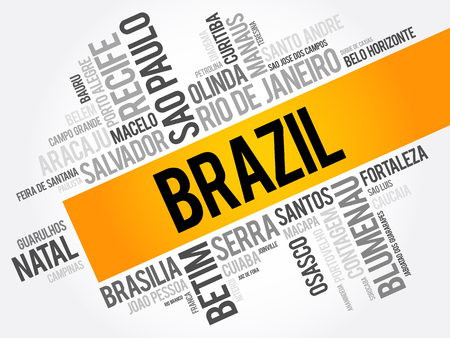 belem: List of cities and towns in Brazil, word cloud collage, business and travel concept background