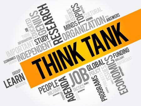 Piense el tanque palabra collage de la nube, concepto de fondo social Ilustración de vector