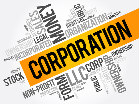 Corporation słowo cloud kolaż, tło koncepcja biznesowa