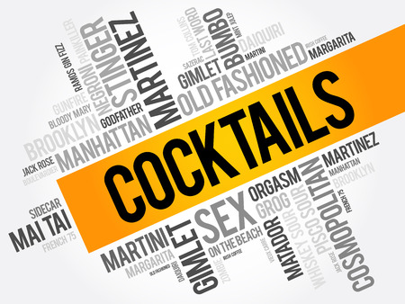 Meest populaire Cocktails woord wolk collage, drankjes concept achtergrond Stock Illustratie