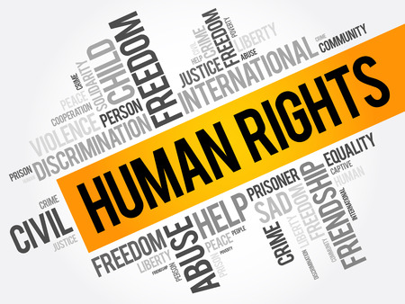 Human rights word cloud collage, social concept background