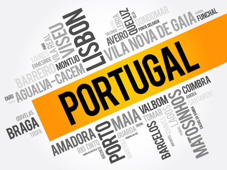 List of cities and towns in Portugal, word cloud collage, business and travel concept background Ilustrace