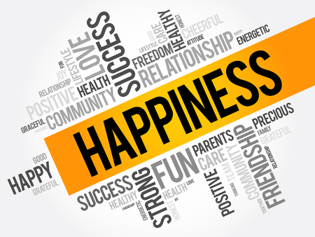 HAPPINESS word cloud collage, concept background Illustration
