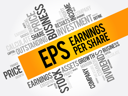 EPS - Earnings Per Share word cloud collage, business concept background
