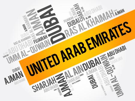 アラブ首長国連邦-アラブ首長国連邦、word で都市のリスト雲のコラージュは、ビジネスと旅行の概念の背景