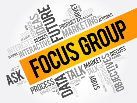 포커스 그룹 단어 구름 콜라주, 비즈니스 개념 배경