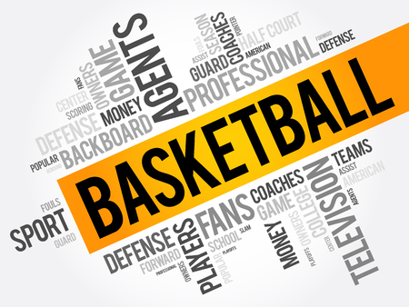Basketball word cloud collage, sport concept background