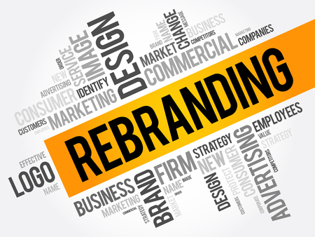 Rebranding word cloud collage, business concept background 向量圖像