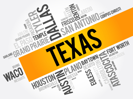 pasadena: List of cities in Texas USA state word cloud, concept background