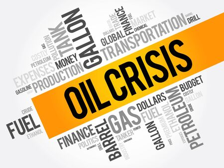 con: Oil crisis word cloud collage, business concept background Illustration