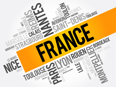 List of cities and towns in France, word cloud collage, travel concept background