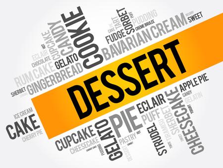sherbet: Dessert word cloud collage, food concept background