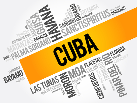 rum: List of cities and towns in Cuba, word cloud collage, business and travel concept background Illustration