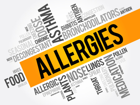 Allergies word cloud collage, health concept background Illustration