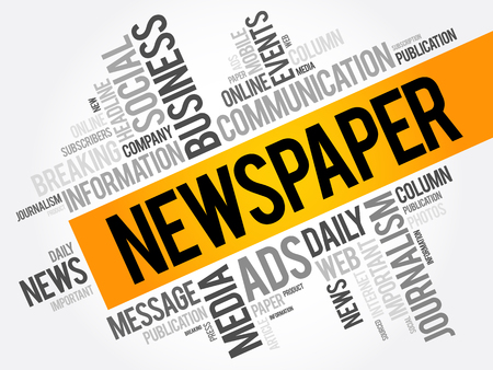 Newspaper word cloud collage, business concept background