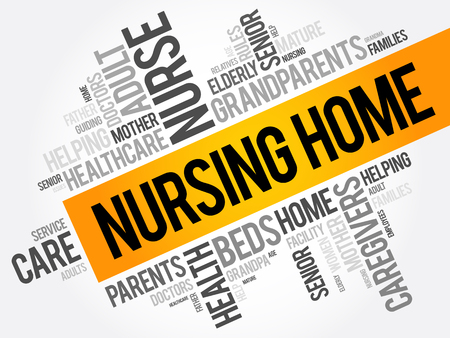 Nursing Home word cloud collage, health concept background