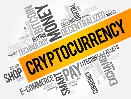 CryptoCurrency word cloud collage, business concept background Illustration