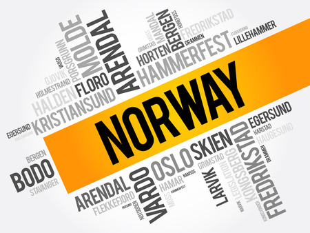 List of cities and towns in Norway, word cloud collage, business and travel concept background