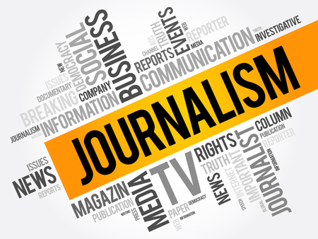 Journalism word cloud collage , social concept background Illustration