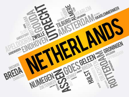 haarlem: List of cities and towns in Netherlands, word cloud collage, business and travel concept background