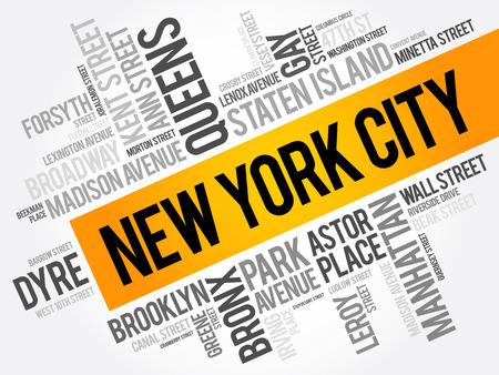 Lista de calles de la ciudad de Nueva York, la palabra collage de nubes, los negocios y el concepto de fondo de viaje Foto de archivo - 80061006