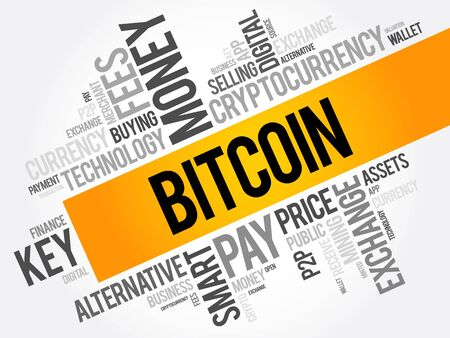minted: Bitcoin word cloud collage, business concept background