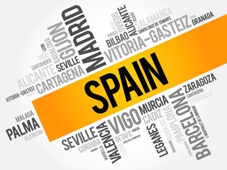List of cities in Spain word cloud, Spanish municipalities, business and travel concept background Ilustração