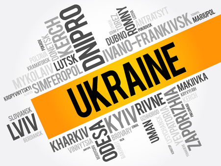 List of cities in Ukraine word cloud collage, business and travel concept background