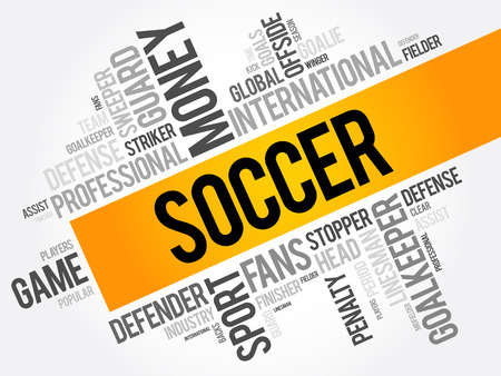 Soccer word cloud collage, sport concept background