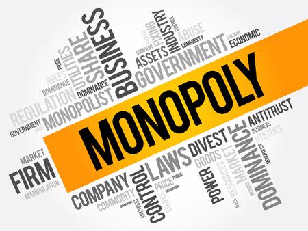 monopolio: Monopolio de la palabra nube collage, concepto de negocio de fondo