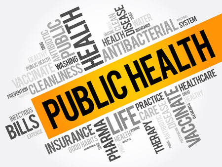 Public health word cloud collage, healthcare concept background Illustration