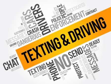 Texting and Driving word cloud collage, social concept background Ilustração