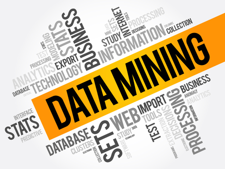 Data Mining word cloud collage, technology business concept background
