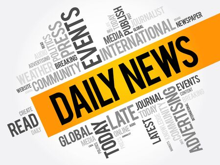 Daily News word cloud collage, business concept background