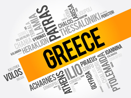 List of cities and towns in Greece, word cloud collage, business and travel concept background