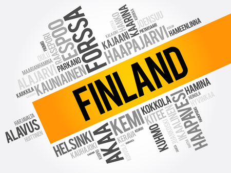 lapland: List of cities and towns in Finland, word cloud collage, business and travel concept background Illustration